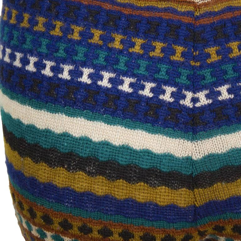 1980's Missoni Blue  and Olive Knit Striped Legging In Excellent Condition For Sale In Toronto, Ontario