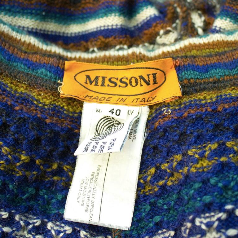 Women's or Men's 1980's Missoni Blue  and Olive Knit Striped Legging For Sale