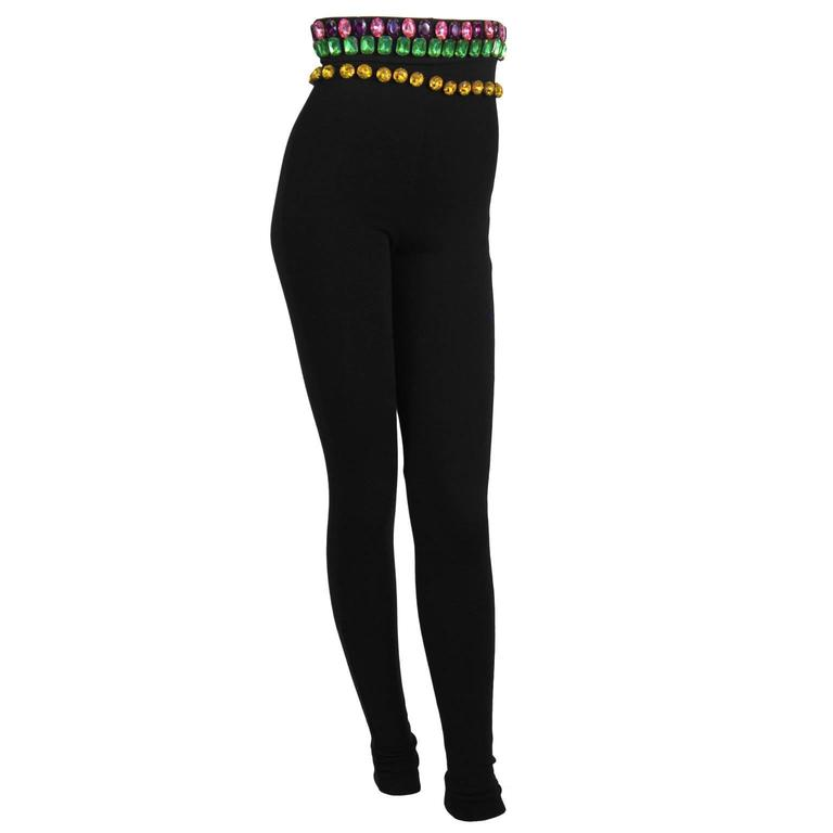 Black 1980's Dolce and Gabanna Jeweled Leggings For Sale