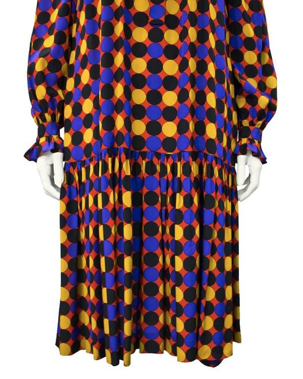 Women's 1970's Yves Saint Laurent YSL Silk Polka Dot Smock Dress