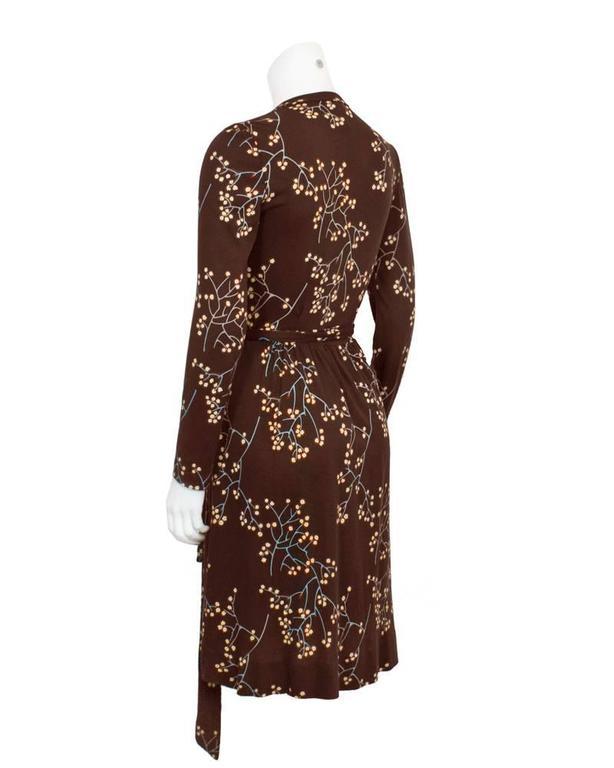 1970's Diane Von Furstenberg Brown Floral Wrap Dress 3