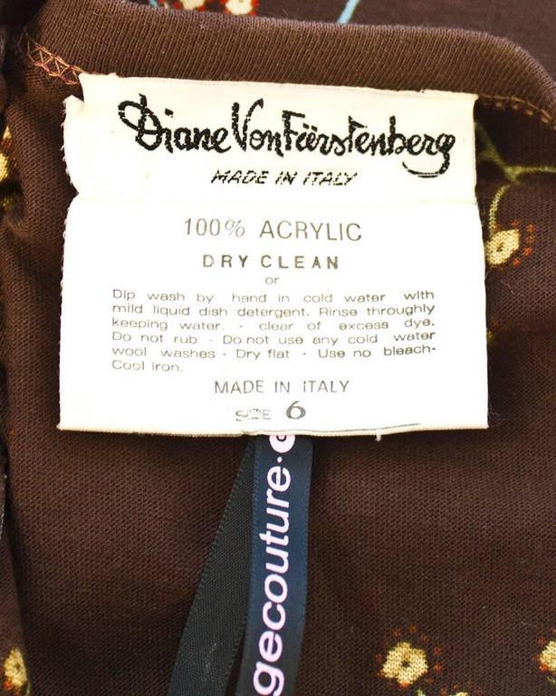 1970's Diane Von Furstenberg Brown Floral Wrap Dress 5