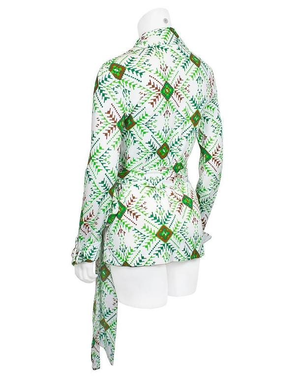 Circa 1970's Green and White Iconic Wrap Top 2