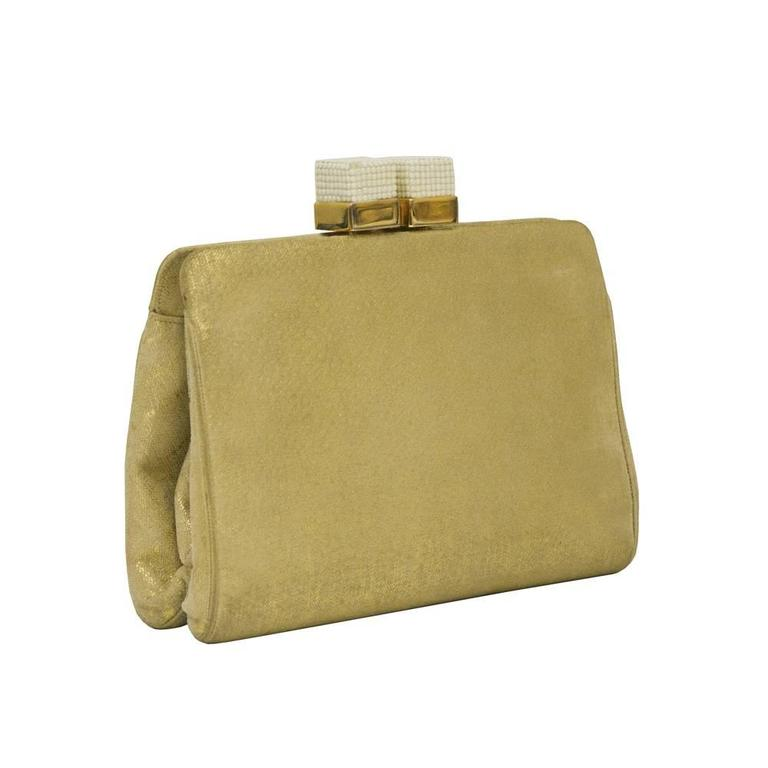 Elegant 1970's Judith Leiber gold stencilled beige suede clutch with opaque white marcasite covered cube kisslock clasp. The bag is composed of supple suede on a hinged goldtone frame. Hide away gold chain strap, nude satin interior with an