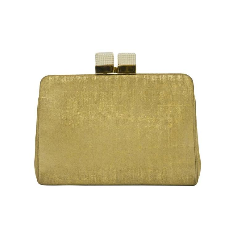 1970's Judith Leiber Gold Clutch  For Sale