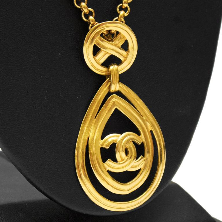 1996 Chanel Necklace with Teardrop CC Pendant  2