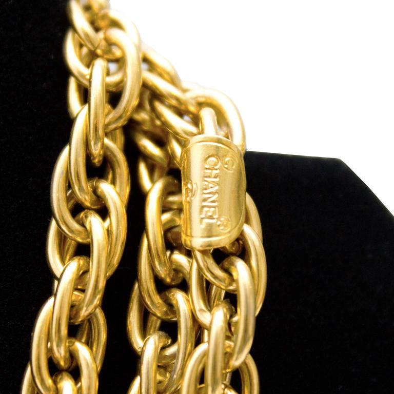 1980's Chanel Triple Chain Necklace with Logo Charms 3