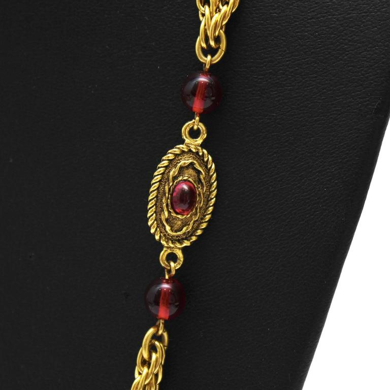 1982 Chanel Double Chain Necklace with Red Glass Beads 2