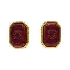1998 Chanel Rectangle Red Poured Glass Earrings