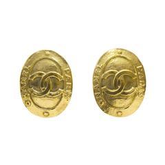 1991 Chanel Oval Shaped CC Earrings