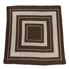 1970's Yves Saint Laurent Brown Square Cotton Scarf