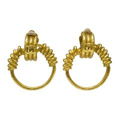 Spring 1994 Chanel Gold Clip Hoop Earrings