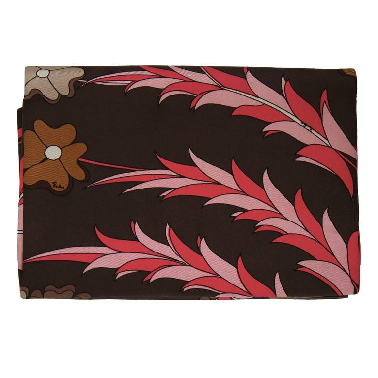 Black 1960's Emilio Pucci Brown and Pink Printed Silk Clutch For Sale