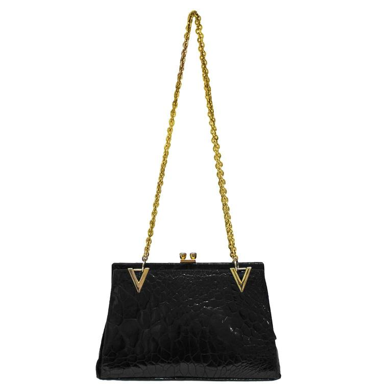 1960's Black Farm Raised Croc Shoulder Bag with Gold Details 1