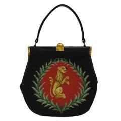 1950's Needlepoint Top Handle Lady Bag