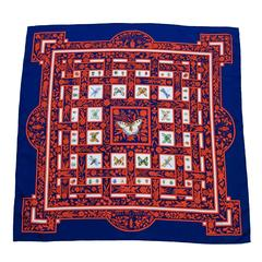 1995 Hermes Joyaux d'Ete Navy and Red Silk Scarf
