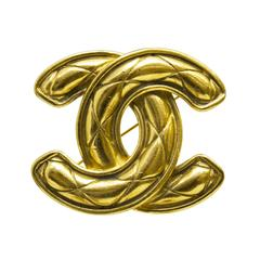 Circa 1990 Chanel Double CC Gold Plated Brooch