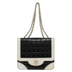 1980's Chanel Black and White Patent Leather Shoulder Bag