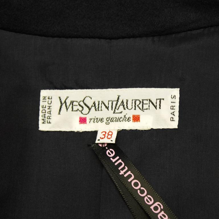 1980's Yves Saint Laurent YSL Black Cashmere Double Breasted Blazer For Sale 1