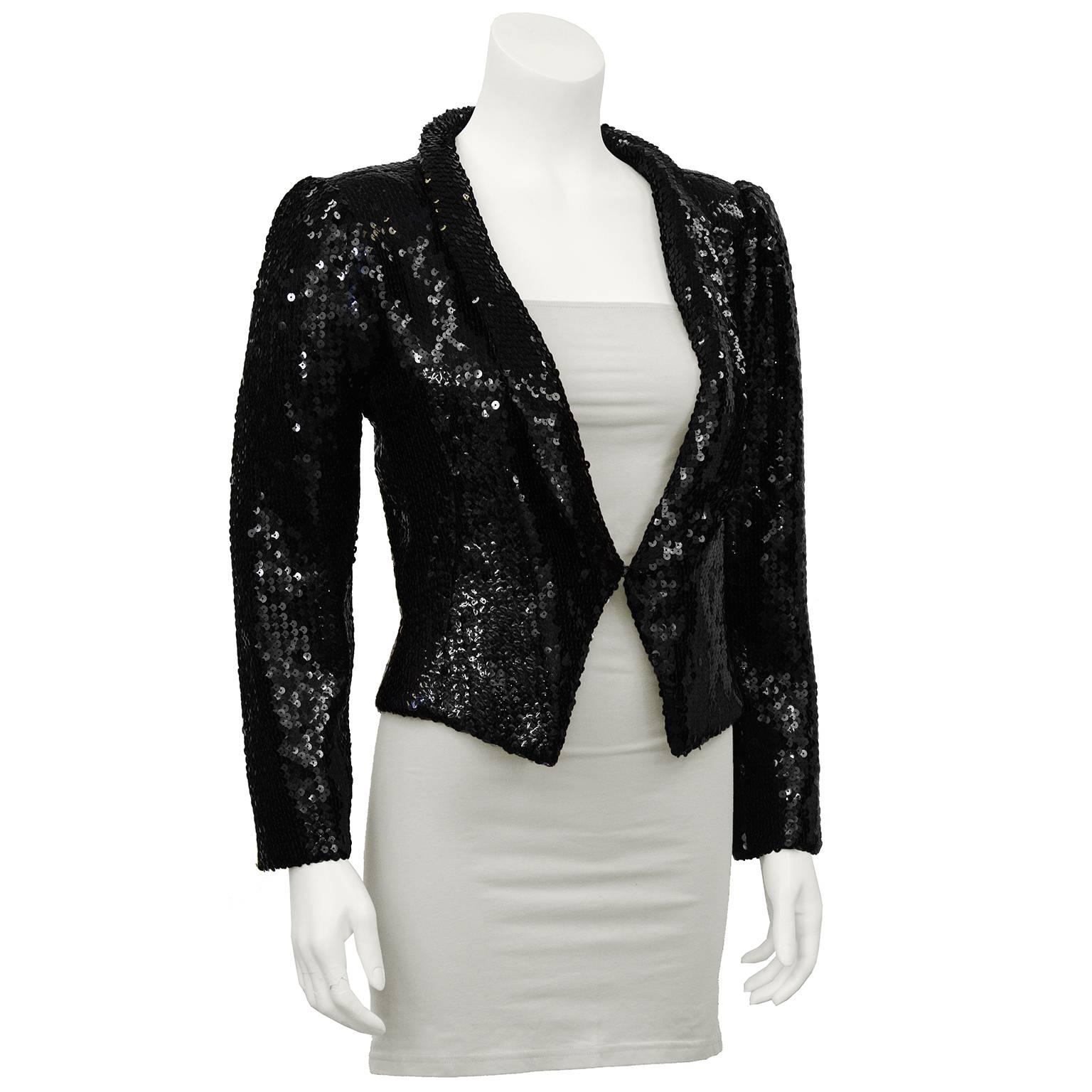 1980's Ungaro Black Sequin Cropped Jacket