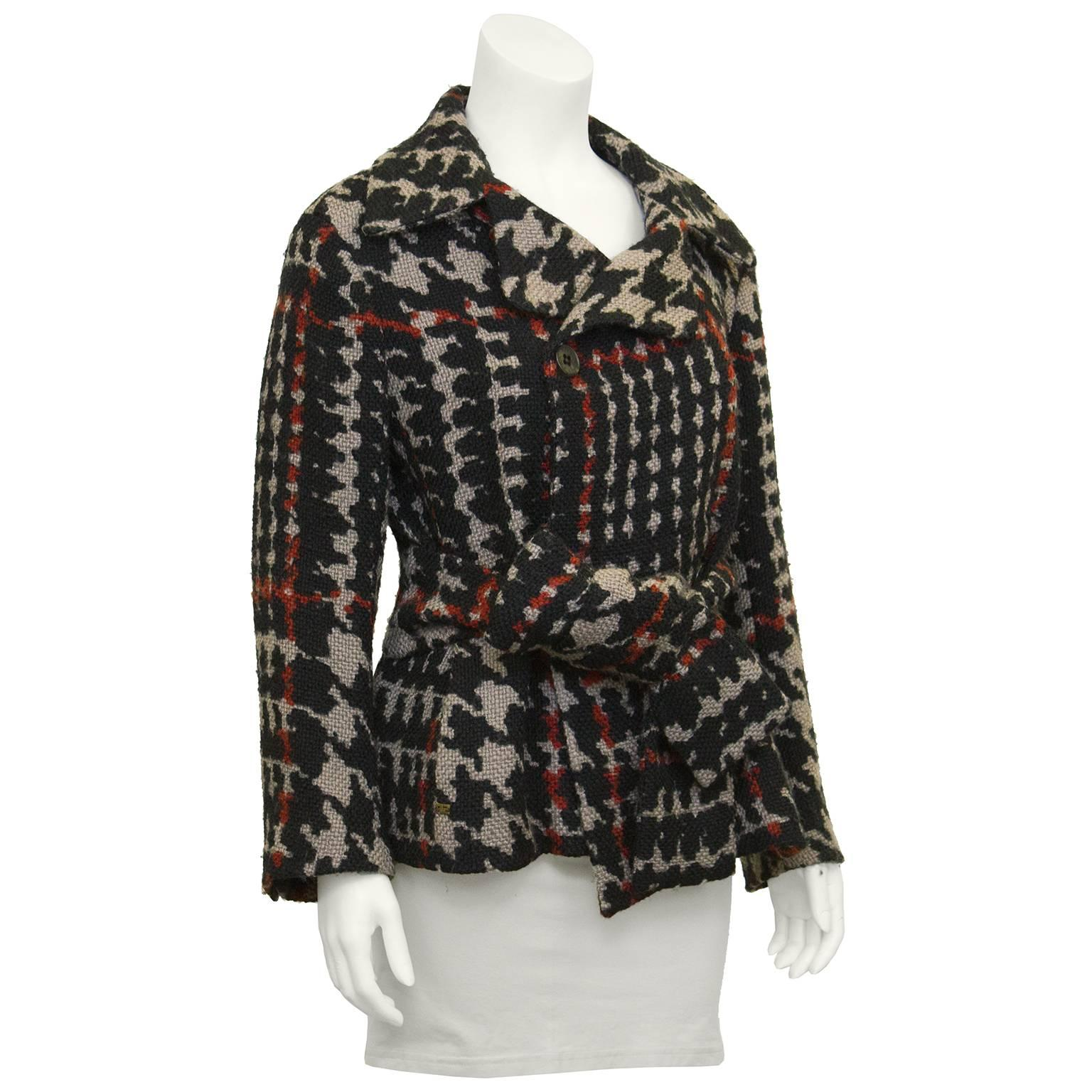 780fbc6b46c 1980's Sonia Rykiel Houndstooth Belted Wool Jacket For Sale at 1stdibs