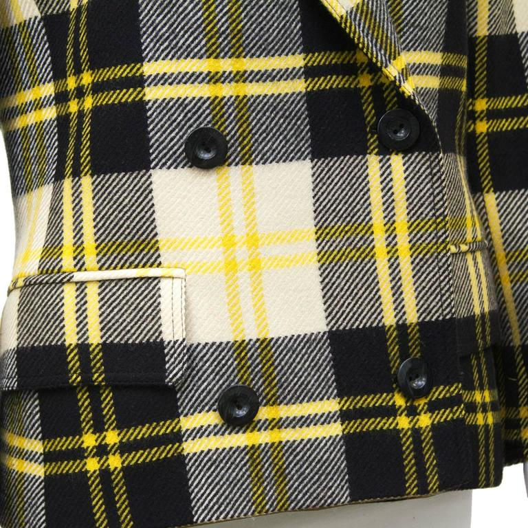 Women's 1990's Valentino Yellow Black and White Plaid Wool Blazer For Sale