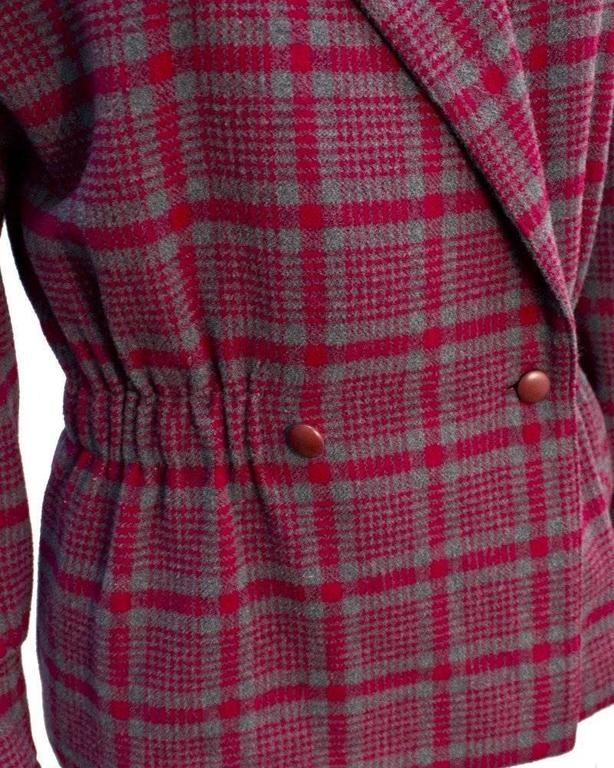 1980's Chloe Red and Grey Checked Peplum Jacket 4