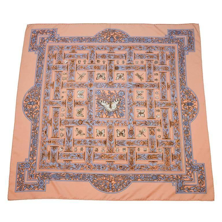 1995 Hermes Joyaux d'Ete Peach Silk Scarf For Sale
