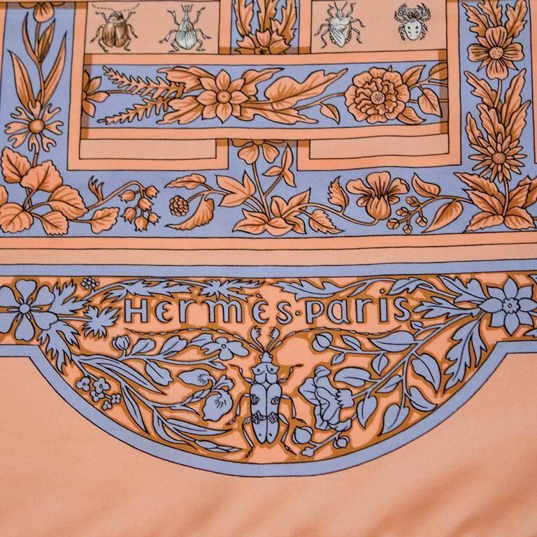1995 Hermes Joyaux d'Ete Peach Silk Scarf In Excellent Condition For Sale In Toronto, CA
