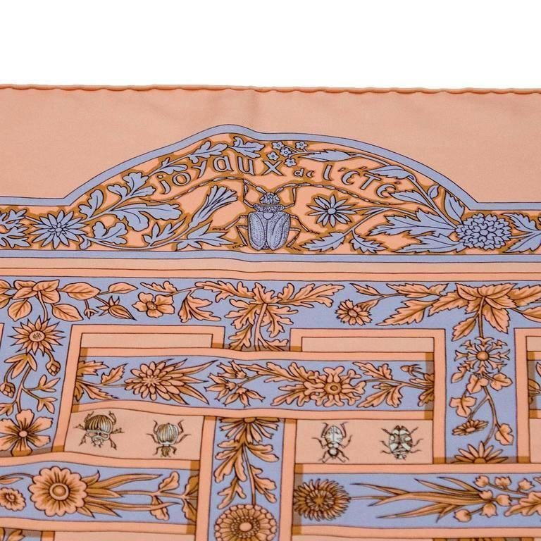 Brown 1995 Hermes Joyaux d'Ete Peach Silk Scarf For Sale