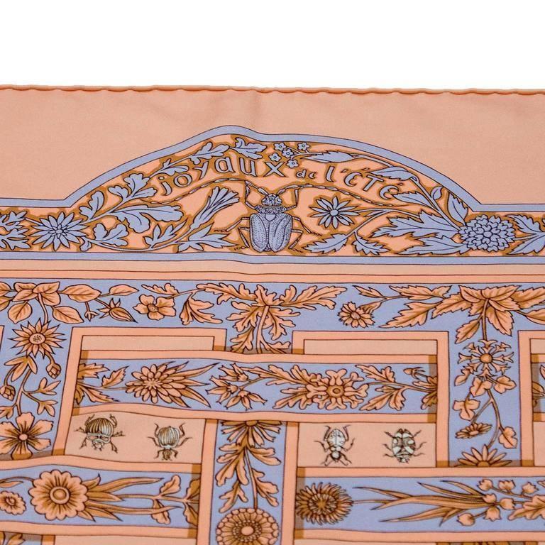 1995 Hermes Joyaux d'Ete Peach Silk Scarf 3