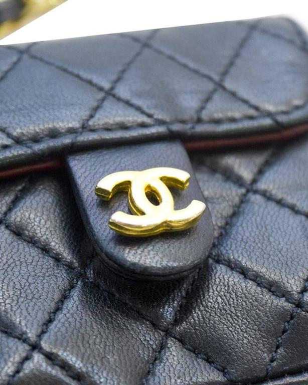 Black 1980's Chanel Navy Mini Quilted Bag For Sale