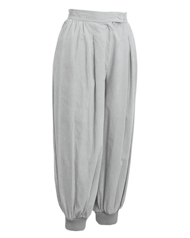YES these are authentic and unique pale grey 1970s YSL Rive Gauche corduroy knickers. Inverted pleats at waistband give lots of volume to the legs, ribbed stretch above the ankle ankle cuffs. Zipper closure at rise with a matching pale grey button.