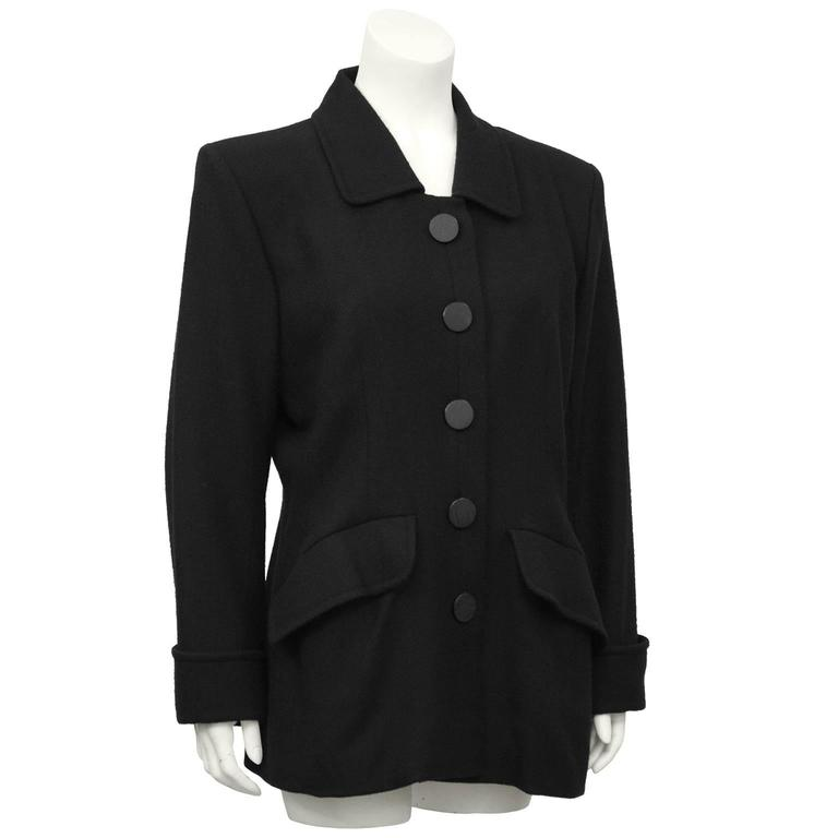 1980's YSL/Yves Saint Laurent Black Wool Blazer  2
