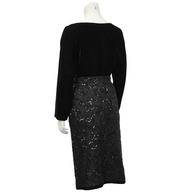 1980's Yves Saint Laurent Black Velvet Top & Lace Skirt Ensemble  3