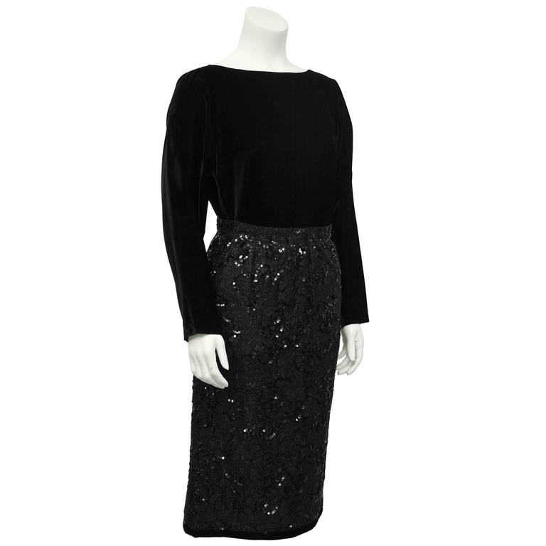 1980's Yves Saint Laurent Black Velvet Top & Lace Skirt Ensemble  2
