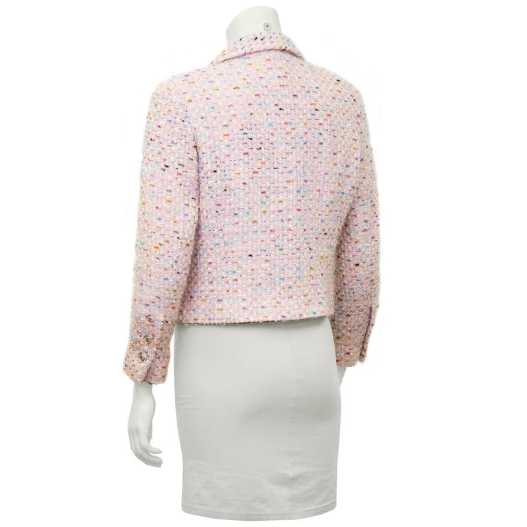 1994P Chanel Pastel Pink Multi-Color Boucle Cropped Jacket at 1stdibs