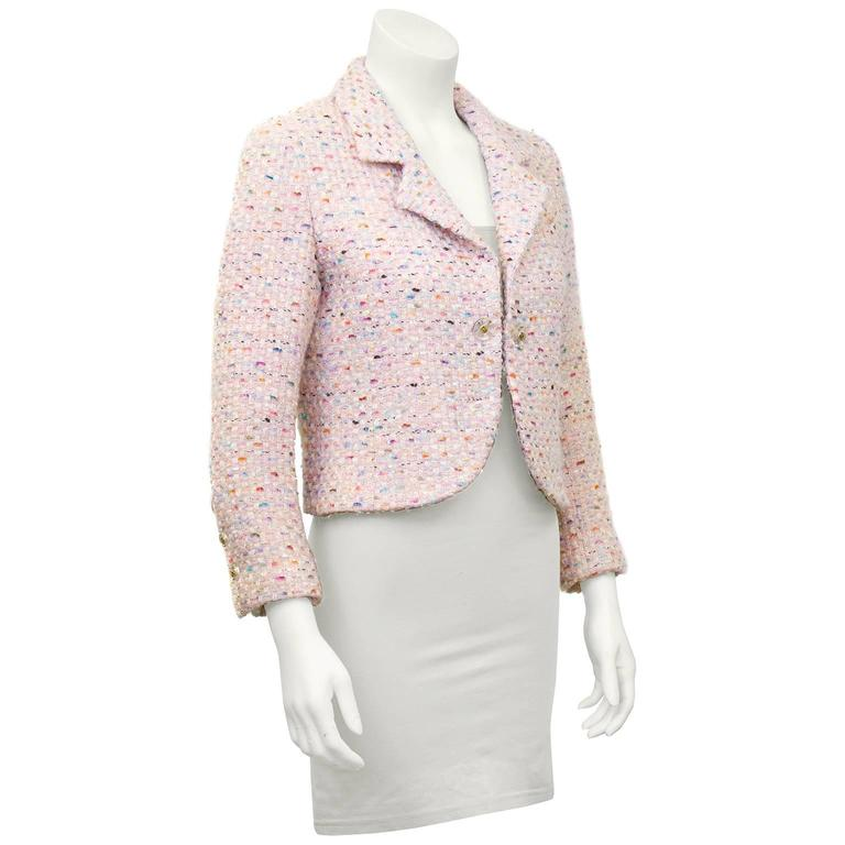 1994P Chanel Pastel Pink Multi-Color Boucle Cropped Jacket  2