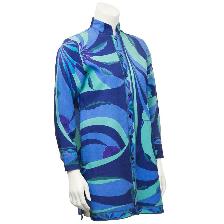 Great 2000's label revival  of Italian design house Alverado Bessi.  Silk & wool blend long A-line top, printed in shades of blue, green and purple. Matching midnight blue buttons and a Mandarin collar. Excellent condition, US 8. Perfect over