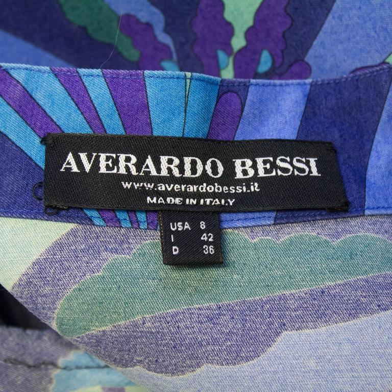 2000's Bessi Blue Silk and Wool Printed 3/4 Length Jacket For Sale 1
