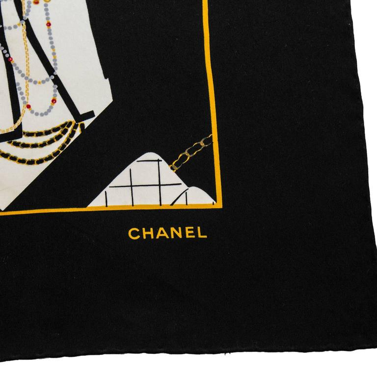 1990's Chanel Silk Scarf with Coco Graphic  3