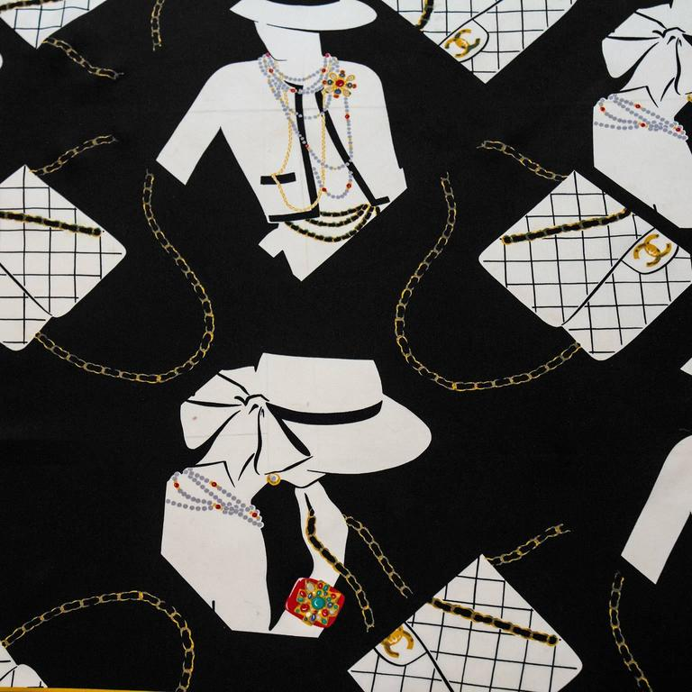 1990's Chanel Silk Scarf with Coco Graphic  2