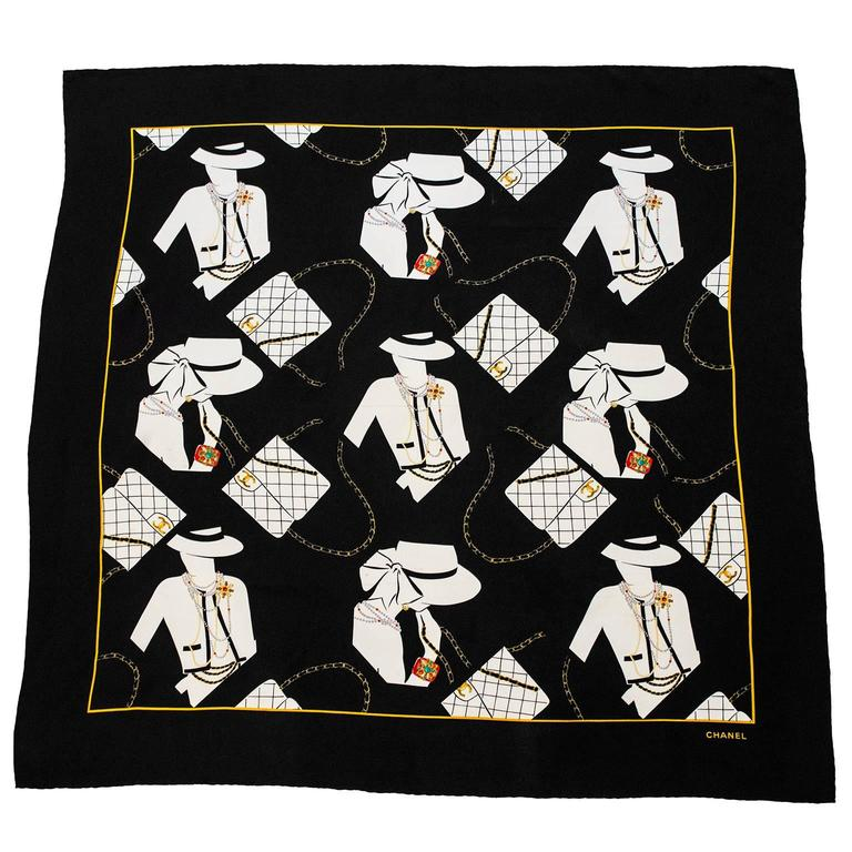 1990's Chanel Silk Scarf with Coco Graphic  1