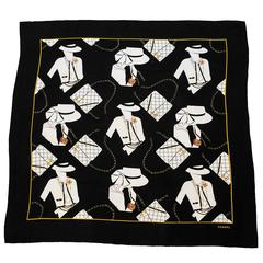 1990's Chanel Silk Scarf with Coco Graphic