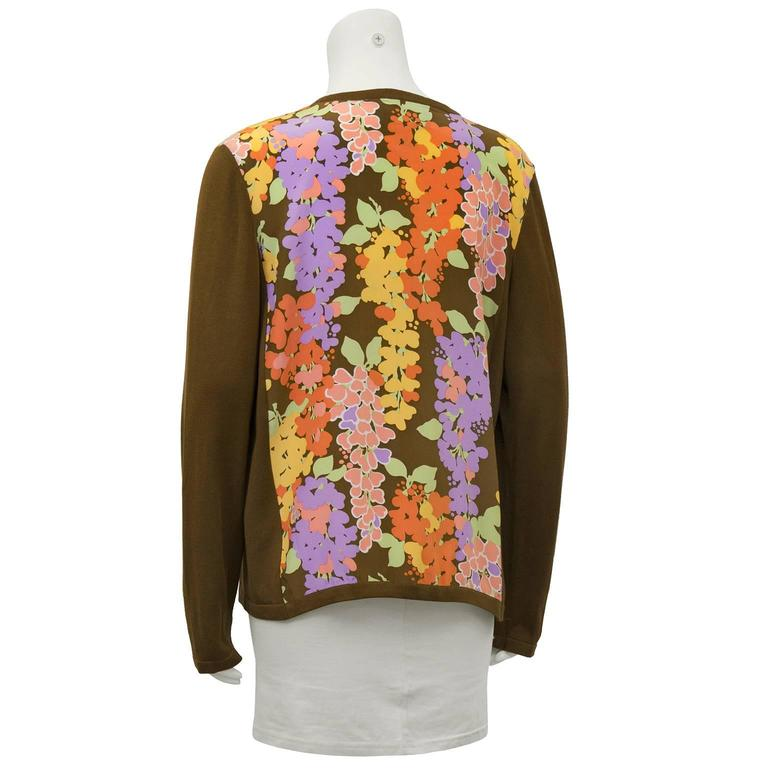 1980's Bob Mackie Cotton and Silk Floral Cardigan  3