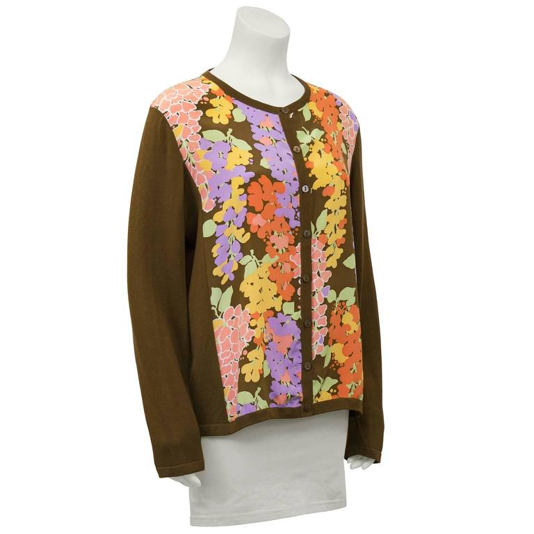 1980's Bob Mackie Cotton and Silk Floral Cardigan  2