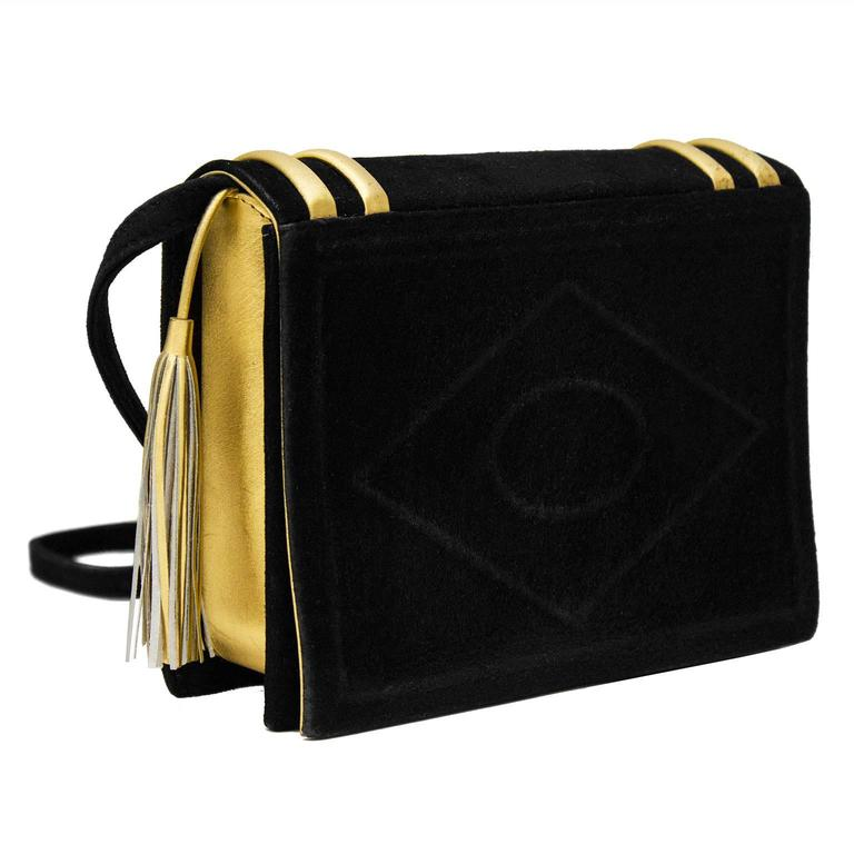 1980's Paloma Picasso Black & Gold Faux Library Book Handbag For Sale