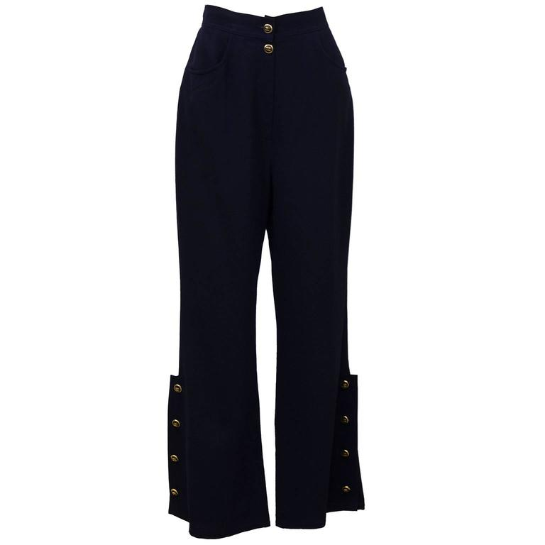 1998P Chanel Navy Blue Trousers with Gold Buttons  For Sale