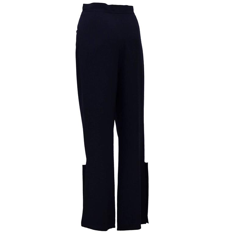 Black 1998P Chanel Navy Blue Trousers with Gold Buttons  For Sale