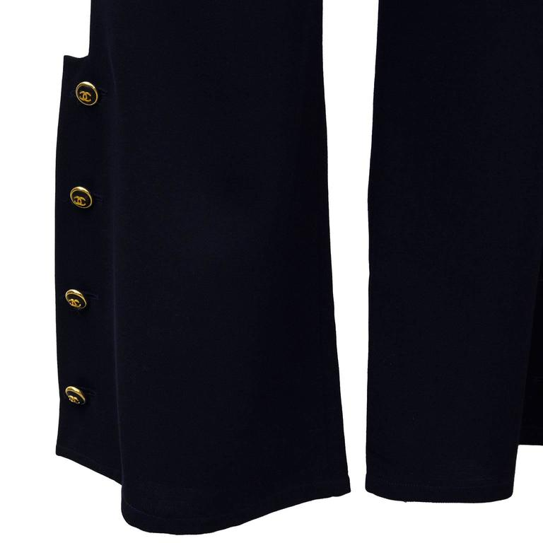1998P Chanel Navy Blue Trousers with Gold Buttons  In Excellent Condition For Sale In Toronto, Ontario